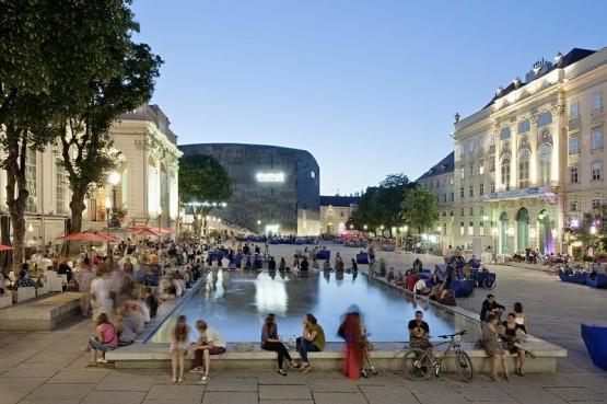 Museumsquartier - Courtyard & Fountain