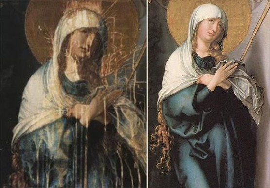Alte Pinakothek - Albrecht Durer Mater Dolorosa - before and after restoration