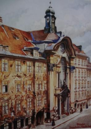 Asamhaus u. Johanneskirche -Aquarelle - 1913 - Adolf Hitler