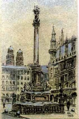 Marienplatz Mariensaule by Adolf Hitler 1913