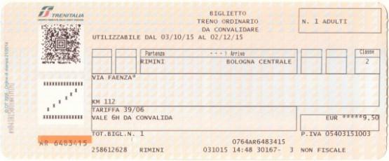 Trentalia - Biglietto - Rimini - Bologna